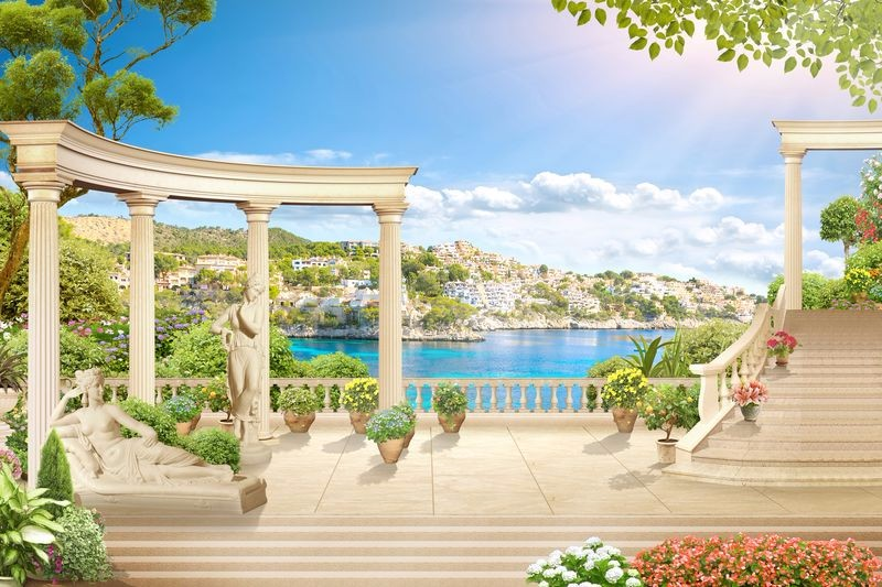 3D Фотообои «Античная терраса на Греческом побережье»<br>kit: None; gender: None;