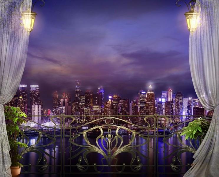 3D Фотообои «Балкон с видом на ночной город»<br>kit: None; gender: None;