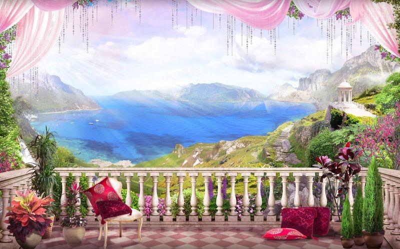 3D Фотообои «Роскошный балкон  с видом на туманный залив»<br>kit: None; gender: None;