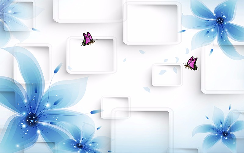 3D Фотообои «Бабочки на фоне прямоугольников»<br>kit: None; gender: None;