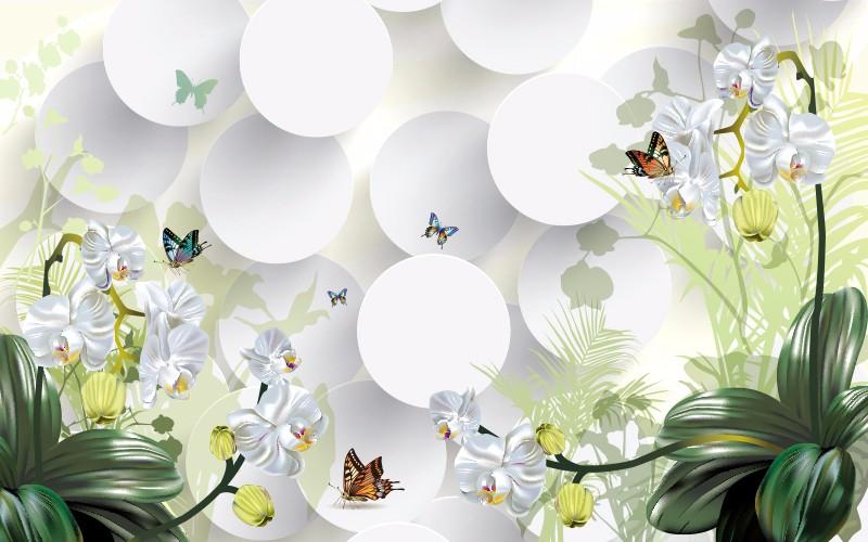 3D Фотообои «Белые орхидеи с бабочками»<br>kit: None; gender: None;