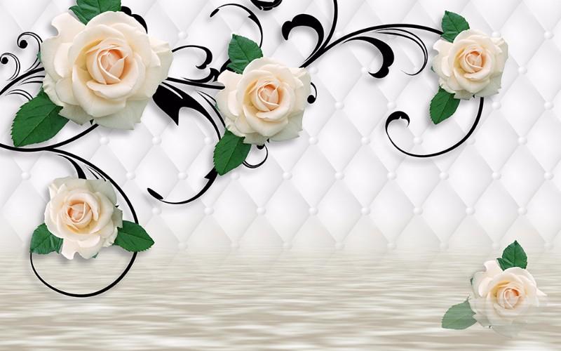 3D Фотообои «Белые розы над водой»<br>kit: None; gender: None;