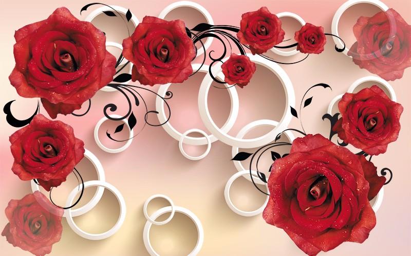 3D Фотообои «Красные розы с объемными кольцами»<br>kit: None; gender: None;