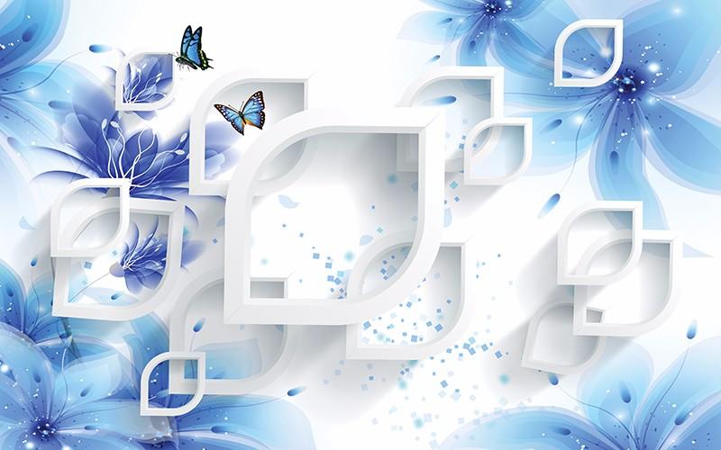 3D Фотообои «Синие цветы с бабочками»<br>kit: None; gender: None;