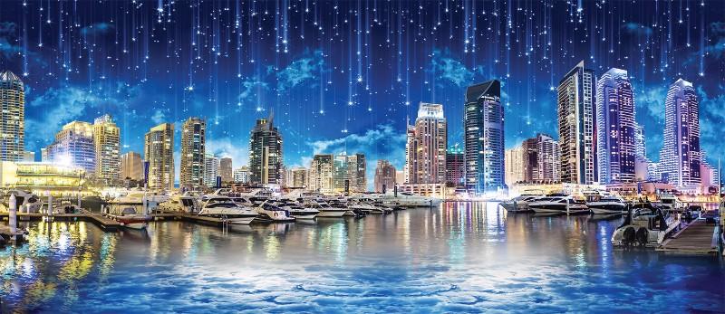 """Фотообои """"«Звездопад над ночным городом»"""""""