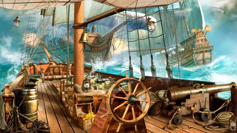 3D Фотообои «На борту пиратского корабля»<br>kit: None; gender: None;