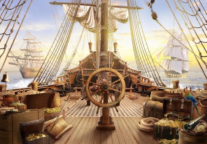 3D Фотообои «Штурвал пиратского корабля»<br>kit: None; gender: None;