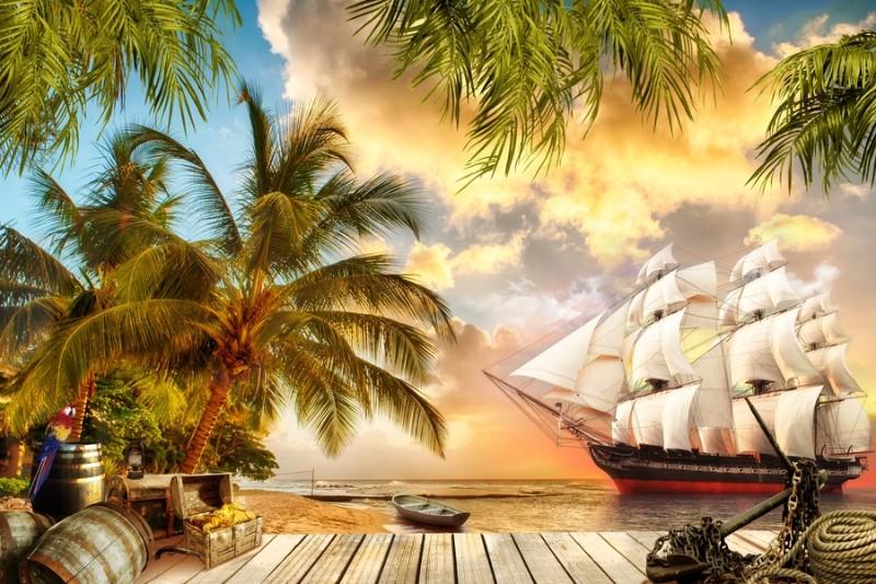 3D Фотообои «Пиратская гавань»<br>kit: None; gender: None;