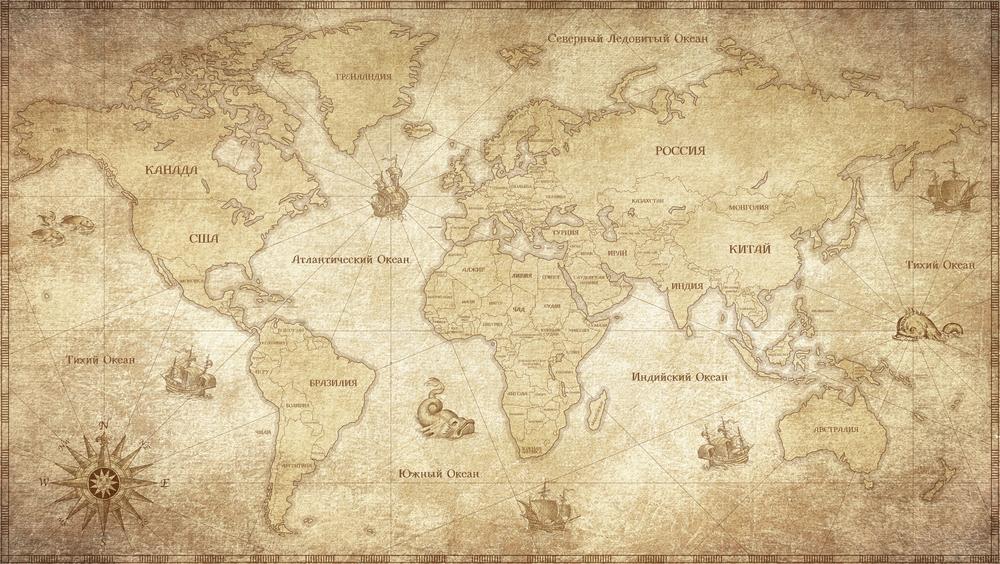3D Фотообои «Карта мира в винтажном стиле»<br>kit: None; gender: None;