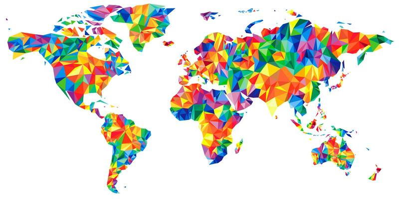 3D Фотообои «Полигональная карта мира»<br>kit: None; gender: None;