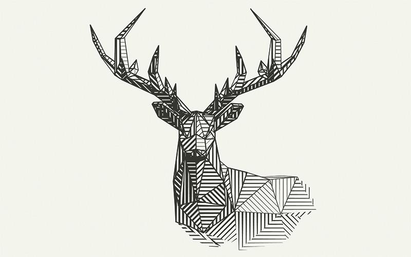 3D Фотообои «Геометрический олень»<br>kit: None; gender: None;