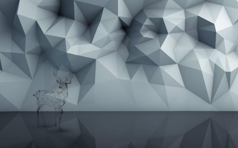 3D Фотообои «Объемная полигональная композиция с оленем»<br>kit: None; gender: None;