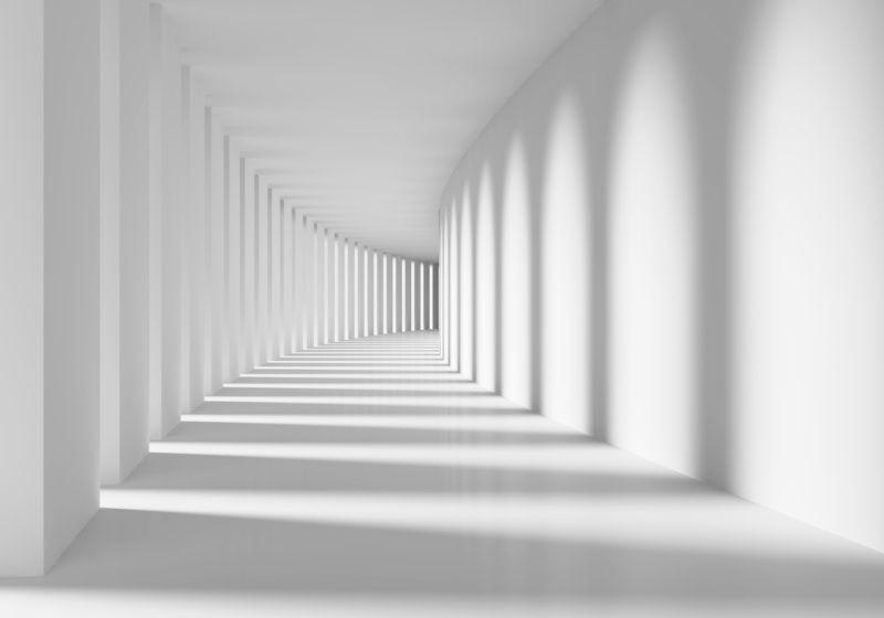 3D фотообои «Белый тоннель» вид 1
