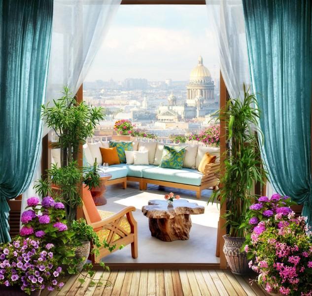 3D фотообои «Уютный балкон» вид 1