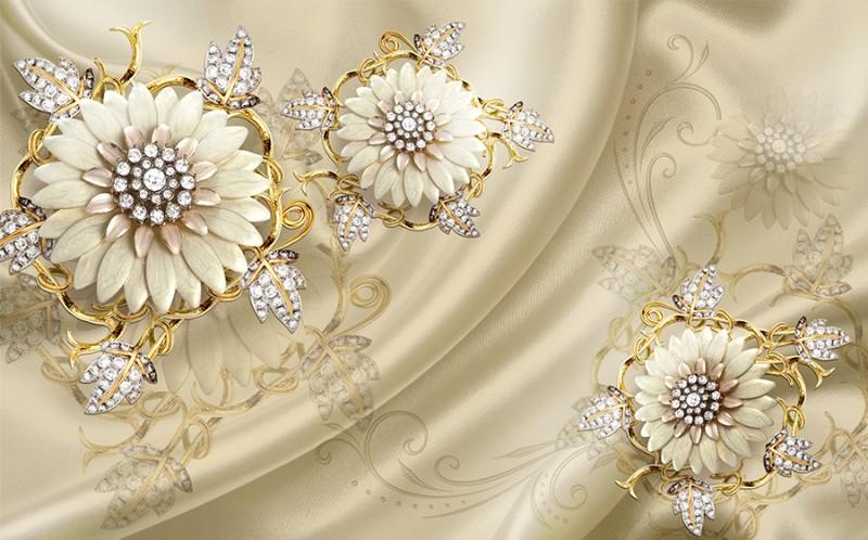 3D фотообои 3D Фотообои «Драгоценные цветы на шелке» вид 1
