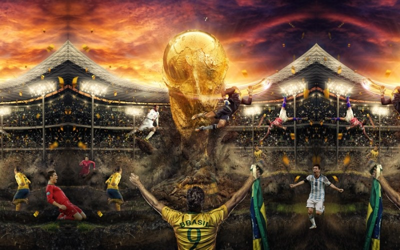 3D Фотообои «Битва за футбольный кубок»<br>kit: None; gender: None;