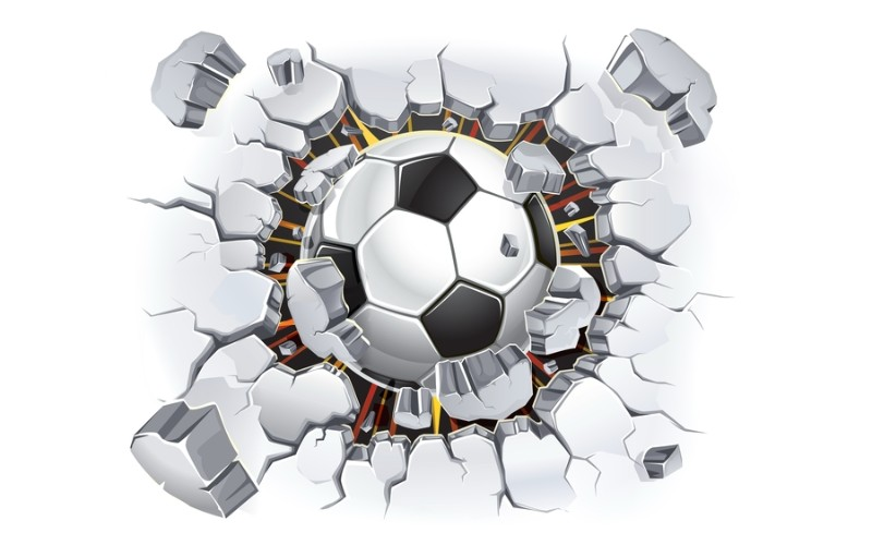 3D Фотообои «Мяч разламывает стену»<br>kit: None; gender: None;