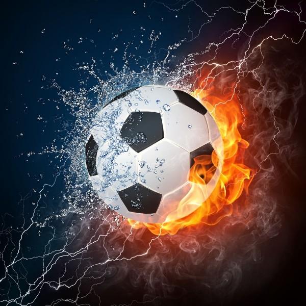 """Фотообои """"«Огненный футбольный мяч»"""""""