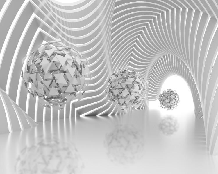 3D Фотообои Абстрактная композиция со сферами из треугольников 300x240