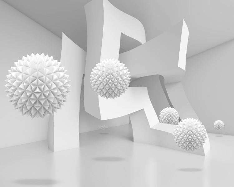 3D Фотообои Абстрактный интерьер с колючими сферами 300x240