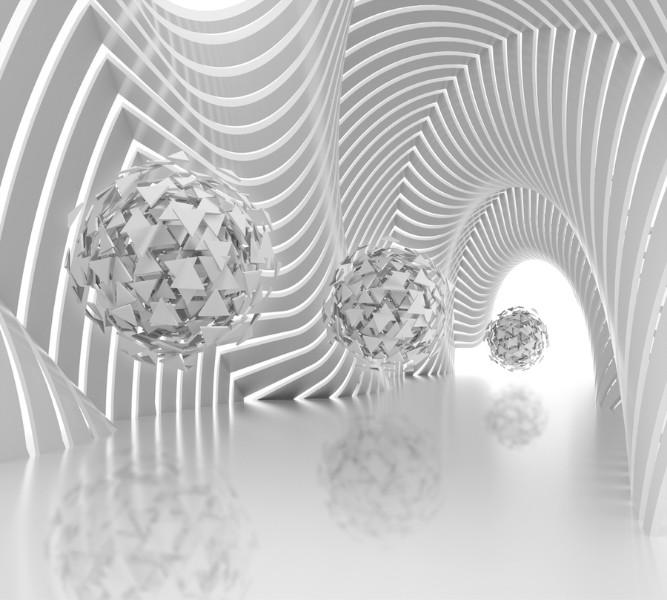 3D Фотообои Абстрактная композиция со сферами из треугольников 300x270