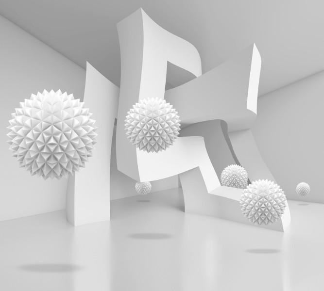 3D Фотообои Абстрактный интерьер с колючими сферами 300x270
