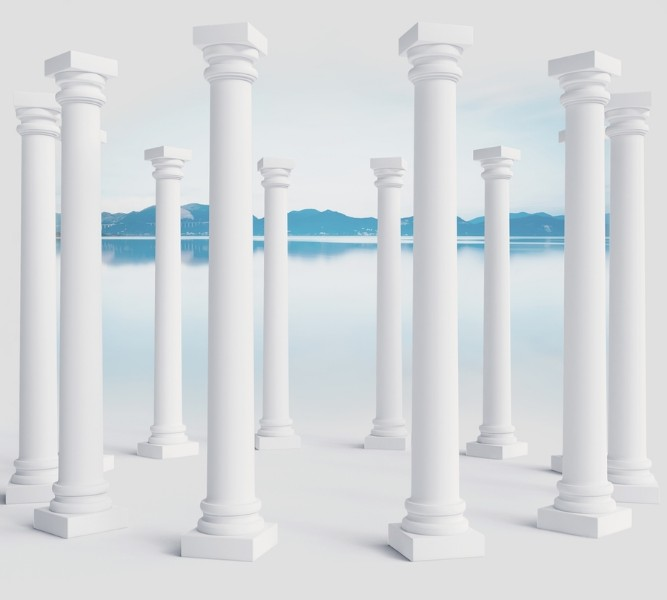 3D Фотообои Абстракция с колоннами 300x270