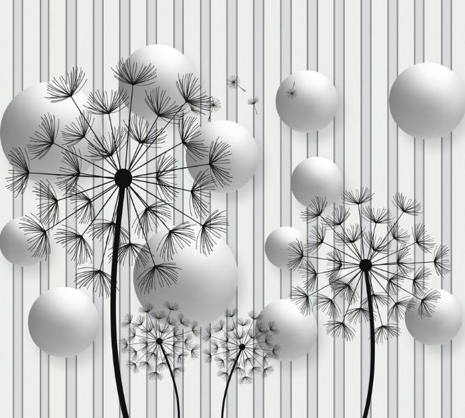 3D Фотообои Абстракция с одуванчиками 300x270