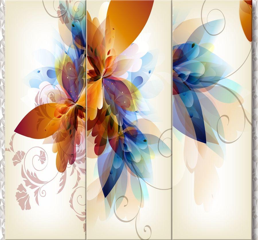 3D Фотообои Объемный триптих с абстрактными цветами 300x270Без категории<br><br>kit: None; gender: None;