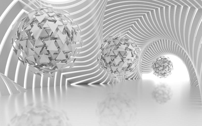 3D Фотообои Абстрактная композиция со сферами из треугольников 400x250