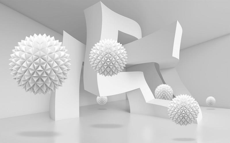 3D Фотообои Абстрактный интерьер с колючими сферами 400x250