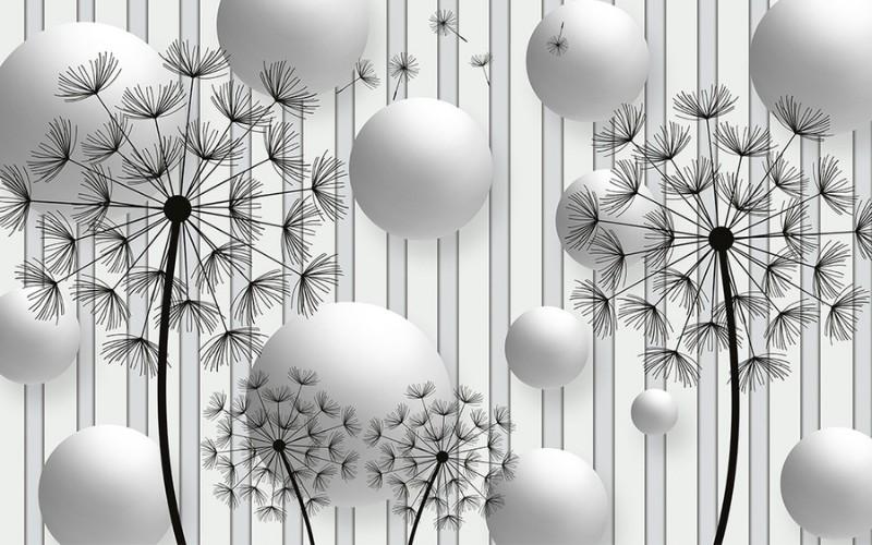 3D Фотообои Абстракция с одуванчиками 400x250