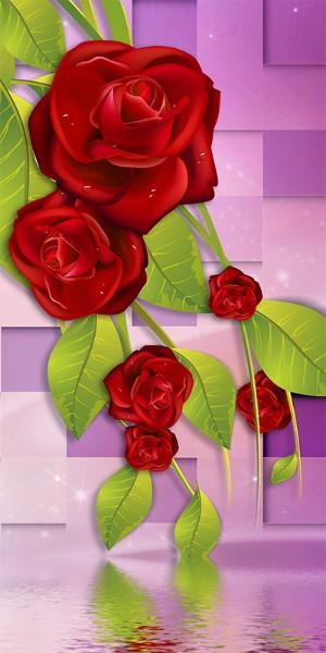 3D Фотообои «Композиция с бордовыми розами»<br>kit: None; gender: None;