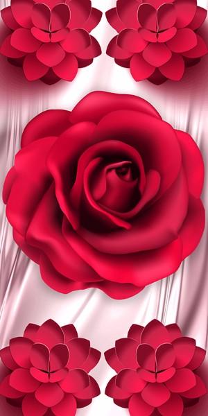 3D Фотообои «Красные цветы»<br>kit: None; gender: None;
