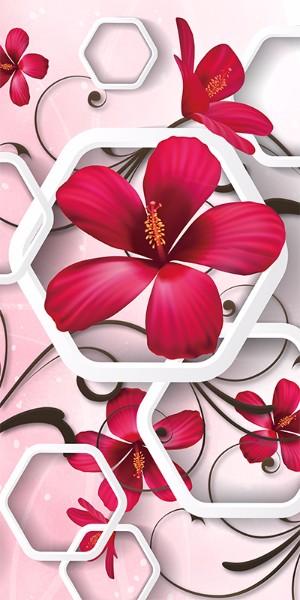 3D Фотообои «Красные цветы с шестиугольными фигурами»<br>kit: None; gender: None;