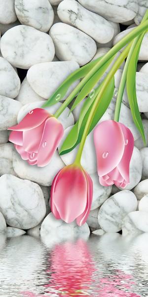 3D Фотообои «Тюльпаны на фоне камней»<br>kit: None; gender: None;