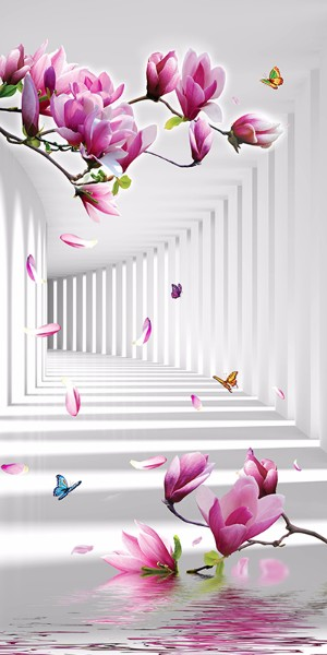 3D Фотообои «Цветы в тоннеле»<br>kit: None; gender: None;