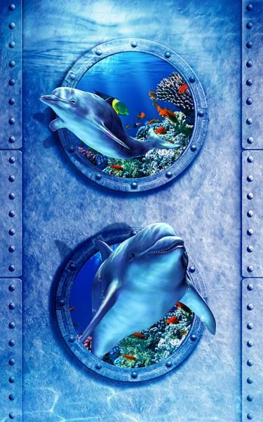 3D Фотообои «Иллюминаторы с дельфинами»<br>kit: None; gender: None;