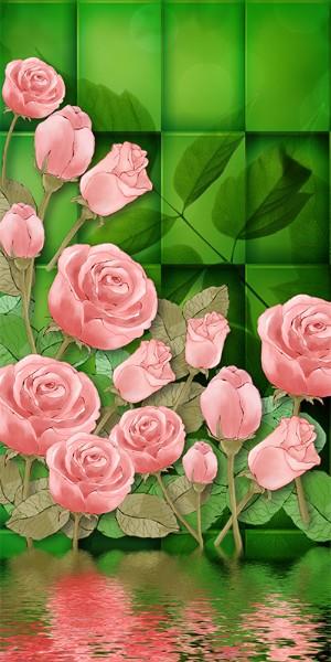 3D Фотообои «Нарисованные розы на зеленом фоне»<br>kit: None; gender: None;
