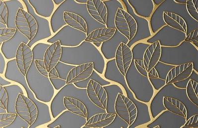 3D Ковер «Узор с золотыми листьями»