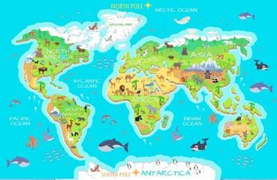3D Ковер «Яркая карта мира»