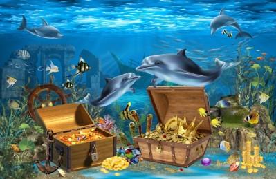 3D Ковер «Дельфины кладоискатели»