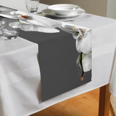 Сервировочная дорожка «Белая орхидея на сером фоне»