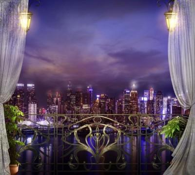 Фотошторы «Балкон с видом на ночной город»