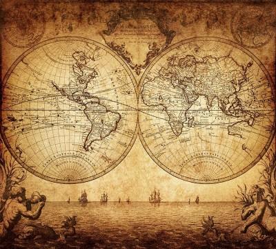 Фотошторы «Старинная карта мира»