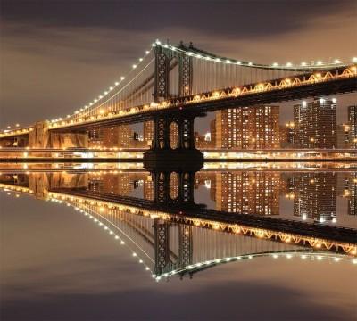 Фотошторы «Бруклинский мост: отражение в реке Гудзон»