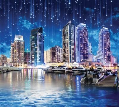 Фотошторы «Звездопад над ночным городом»