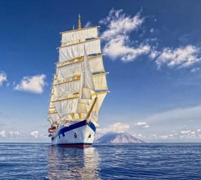 Фотошторы «Корабль в море»
