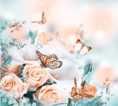Фотошторы «Бабочки над розами»