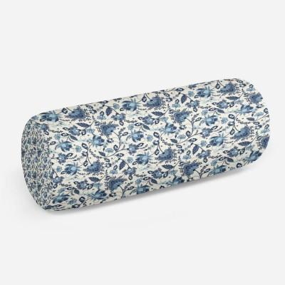 3D подушка-валик «Цветочный узор с голубым оттенком»